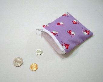 Purple Mushroom Zippered Coin Pouch