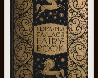 "Vintage Book Cover Print  ""Edmund Dulac Fairy Book""  originally published circa 1900 - Giclee Art Print - Nursery Decor - Children's Art"