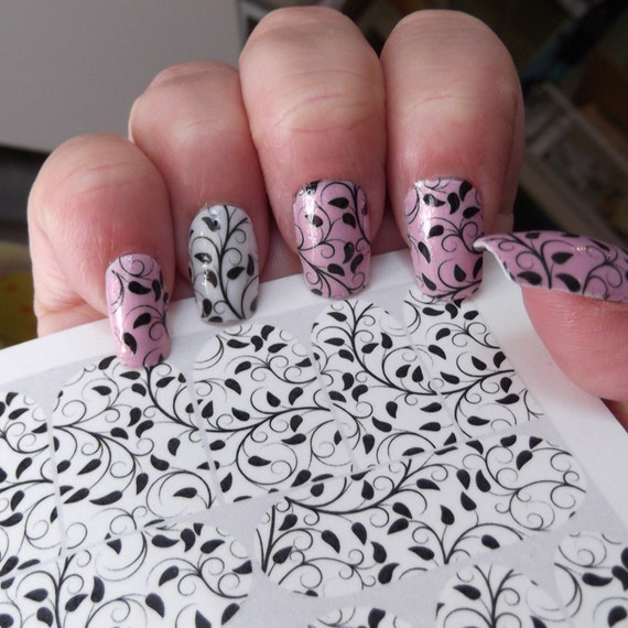 IVY Nail Art Decals (VNS) - Black Vines Full Nail Wrap Decoration ...