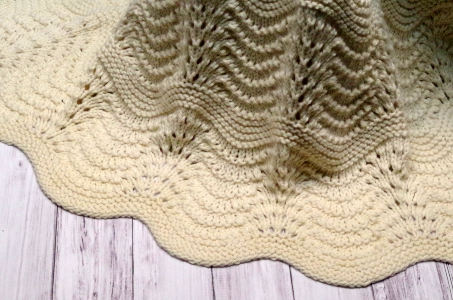 Organic Baby Blanket: Heirloom Quality Feather and Fan Lace