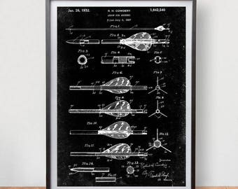 Archery Arrow Patent Poster Game Room Vintage Art Retro Print Home Wall Decor
