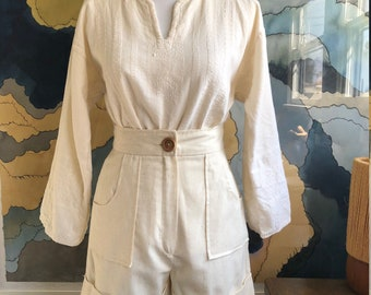 1970s vintage embroidered white ivory natural cotton tunic peasant shirt