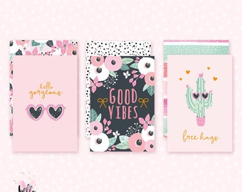 3 Foiled Journaling cards - Summer TN kit collection