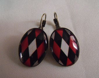 LIQUIDATION red and black oval cabochon earrings