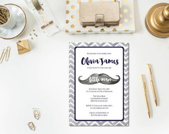 Baby Boy Mustache Baby Shower Invitation