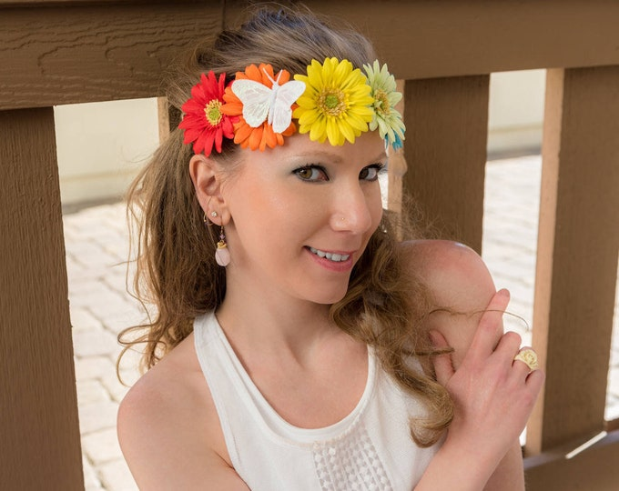 Rainbow Daisy Flower Crown