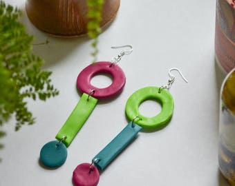 Geometric Circle Clay Statement Earrings in Magenta, Lime Green, and Turquoise