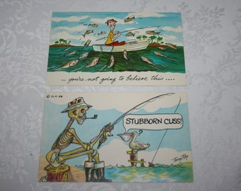 Two Vintage Post Cards 1960s Fishing Fisher Fisherman Unused NEW