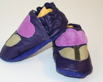 Recycled Purple Leather Crib Shoes Soft Baby Shoes Moccasins Size 9 to 12 Months