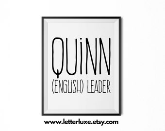 Quinn Name Meaning Art - Printable Baby Shower Gift - Nursery Printable Art - Digital Print - Nursery Decor - Typography Wall Decor