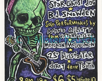 Skeleton Girl with Guitar Original 1998 Painted Butchies Rock Poster by Mister Reusch
