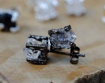 Raw Herkimer Diamond Studs Earring Silver Black Plated Gemstone Stud Earrings Minimalist Earring Gift for her Birthday Gift Nugget earrings