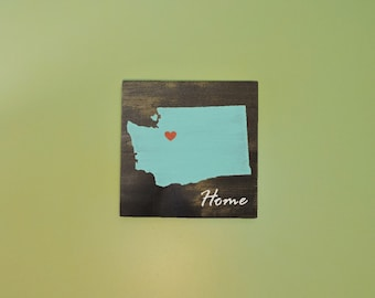 """Pick State, Pick colors, Custom Wooden State Home Sign, Washington, Cougars, Husky, 11.25""""x11.25"""""""