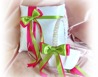 Hot Pink and Lime Green Wedding, Flower Girl Basket and Ring Bearer Pillow Set