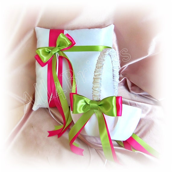 Hot pink and lime green wedding flower girl basket and ring like this item mightylinksfo Images