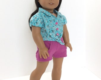 Turquoise Blue and Pink Floral Tie Shirt and Pink Denim Shorts, AG Doll Clothing, 18 Inch Doll Clothing, Made to Fit American Girl Doll