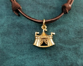 Circus Tent Necklace SMALL Circus Jewelry Circus Tent Charm Leather Necklace Brown Cord Necklace Men's Jewelry Boyfriend Necklace Gift