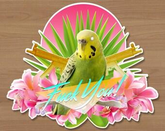 Poolside Parakeet Sticker