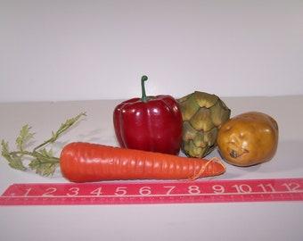 4 Artificial Life Size Carrot Pepper Artichoke Potato Vegetables Home Decor