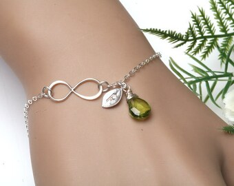 Infinity Monogram Bracelet,Personalized Initial Infinity Bracelet, Bridesmaid's gifts, Infinity birthstone bracelet