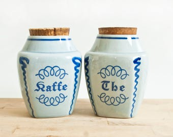Vintage Soholm Coffee Tea Canisters, Hand Painted Blue Danish Kitchen Containers with Corks, Made in Denmark