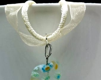 Clear Glass Millefiori Heart Pendant on Cream Organza & Cord Necklace. Can be customised.
