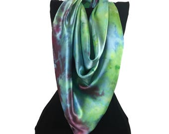 Large Square Silk Satin Scarf, Green Blue Scarf, Shibori, Hand Dyed Silk Scarf, Gift for Her