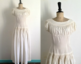 Vintage 1940s Rayon Ivory Wedding Dress - Cream Evening Gown / Size Small