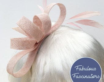 Light pink fascinator, hairclip or hairband, perfect for weddings