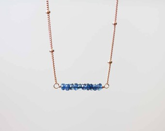 Blue Sapphire Necklace on Sterling Silver or Rose Gold Filled Satellite Chain, Delicate Genuine Sapphire Bar Jewelry, Oxidized Silver