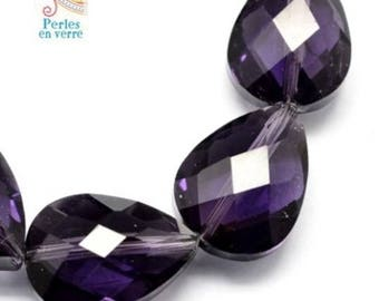 2 large beads, glass drops purple faceted 13x18mm (pv407)