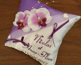 coussin alliance mariage / porte alliances personnalisé :  violet orchidées