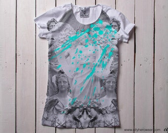 Statues Vandalism black and white t-shirt womens t-shirt with black and white statues print gift for her