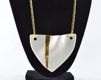 Large gold and white geometric porcelain necklace - modern minimalist jewelry made in Spain