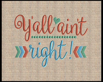 Y'all aint right machine embroidery chevron check embroidery Design Heart Embroidery 5 sizes 4x6 5x7 up to 8x10