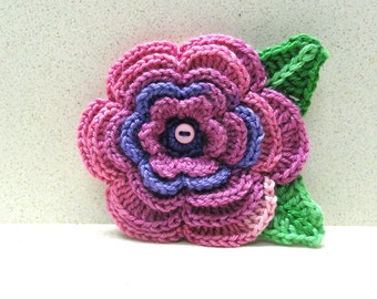 Pink purple  crocheted flower Jewelry Brooch  5 layers  handmade by artefyk Tagt team