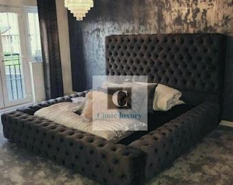 ambassador windermere chesterfield bed frame velvet fabric double super kingsize
