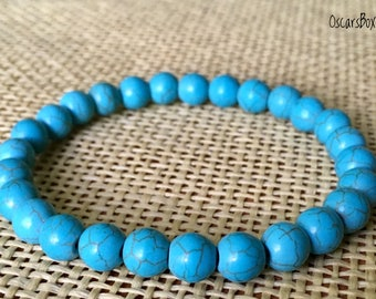 Women bracelets| Turquoise bracelets| 8mm beaded bracelets| Turquoise 8mm bracelet| Women Jewelry | Gemstone Bracelets | 8mm beads