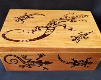 Handmade Tribal Lizard Box