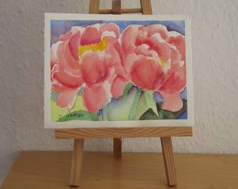Blossoms, Watercolor Original, Blossom Dreams, Miniature Painting, Wedding Card, Peonies, Signed Original
