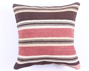 Buglem /  Handwoven Vintage Turkish Kilim Pillow Cover, Decorative Pillow, Accent Pillow, Throw Pillow, 16''x16'' fast shipment