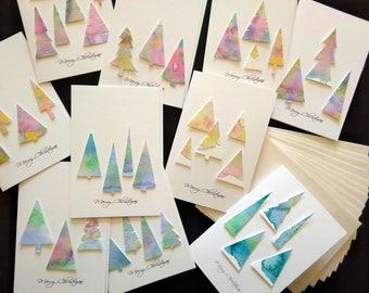 Handmade Christmas Cards watercolour trees Merry Christmas Set of 9