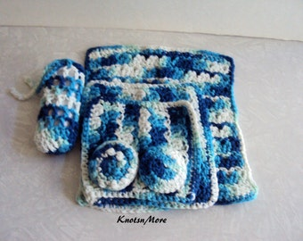 Wash Cloth Set - Crochet Spa Set - Bath Set - Spa Set - Crochet Wash Cloth Set - Gift Set