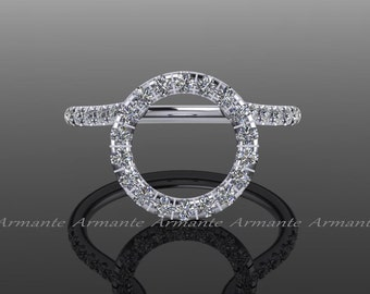 Halo Ring Guard / Ring Enhancer / Wedding Ring Enhancer / Natural Diamonds / Solitaire Enhancer / 14K White Gold