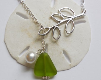 Lime Green Sea Glass Necklace, Charm necklace, Pearl, Silver Branch, bridesmaid necklace, beach wedding.  FREE SHIPPING within the U.S.