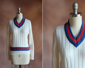 vintage 1980's j.g. hook white ribbed sweater with blue & red trim / size s - m