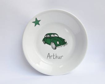 Vintage green Ladybug and Star Kids car personalized with name plate