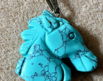 Turquoise Howlite Gemstone Horse Head Pendant with Bail Double Sided 35mm x 32mm 1 pendant