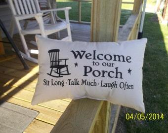 Weclome To Our Porch Primitive Stencil Pillow