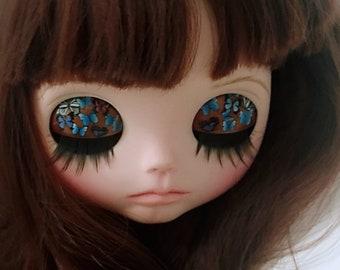 Butterflies Custom Blythe Eye Lids / Lid Art + eye lashes + matching pull charms